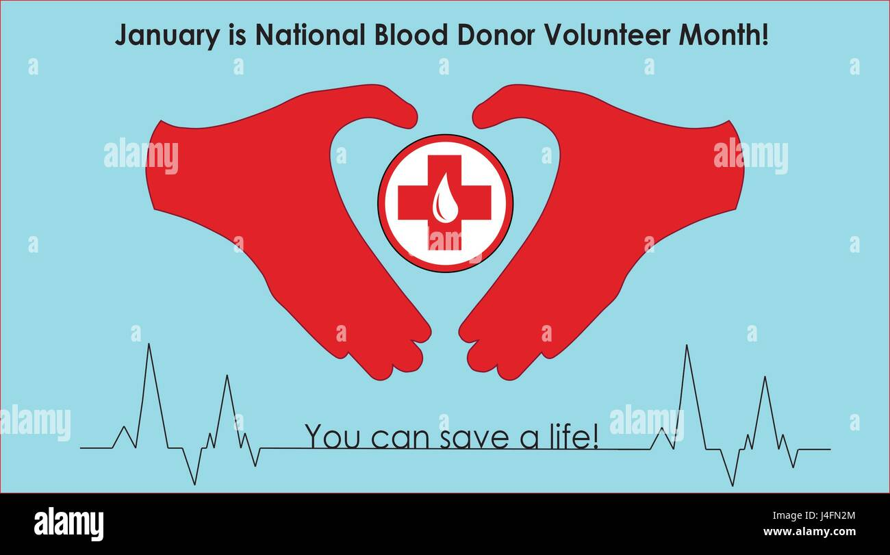 January is National Blood Donor Volunteer Month. Give Blood. Save a life. (U.S. Air Force graphic/Staff Sgt. Daniel - Stock Image