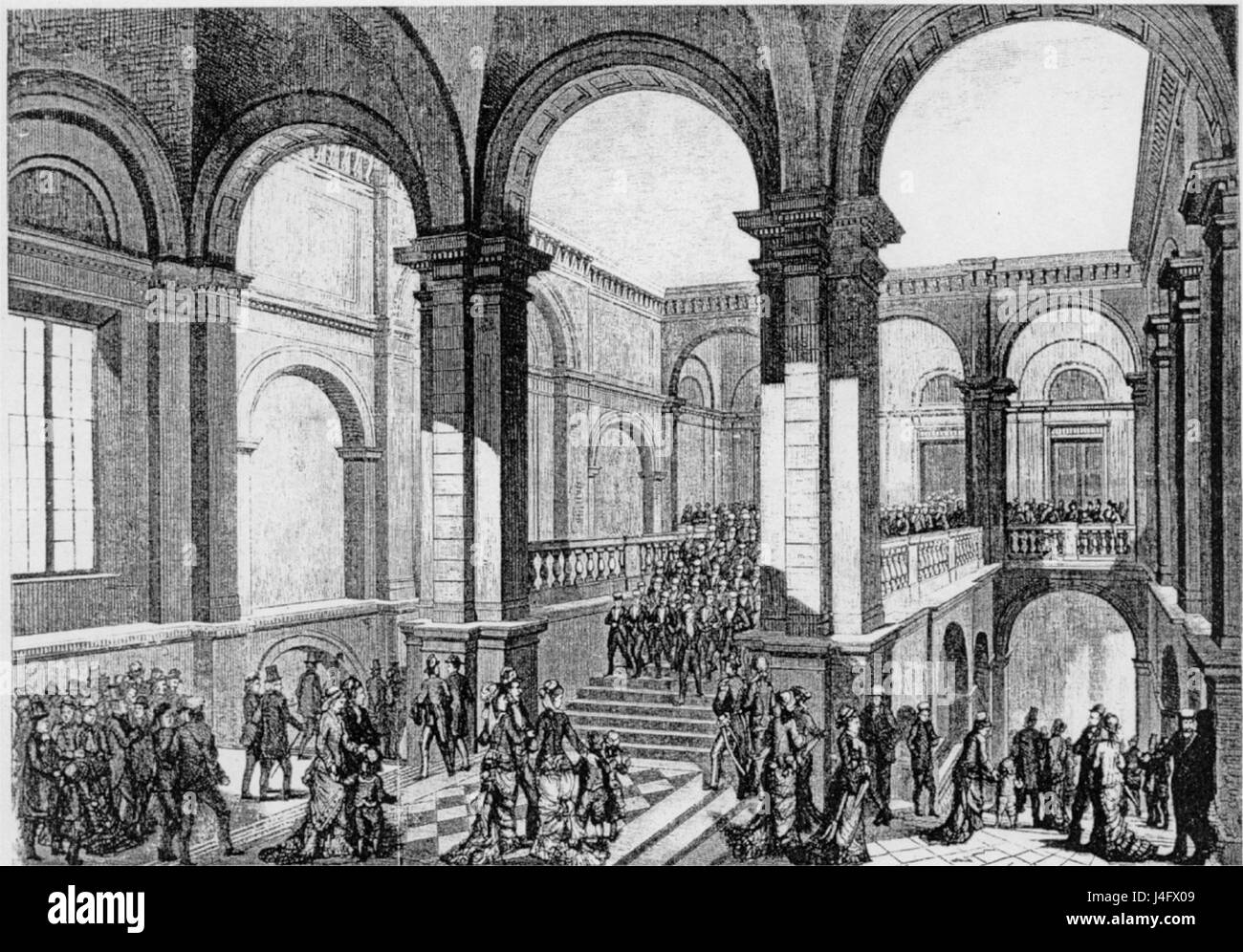 Student singers march down the stairs in Carolina Rediviva 1877 Stock Photo