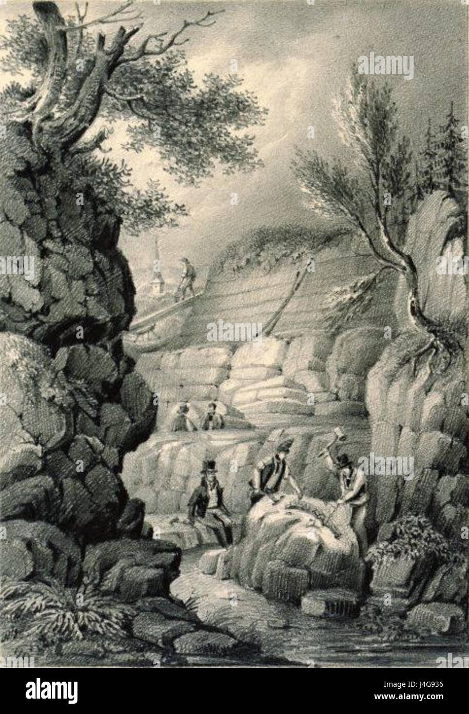 Sketch of Tilgate Quarry with Gideon Mantell Overseeing the Uncovering of Fossils - Stock Image