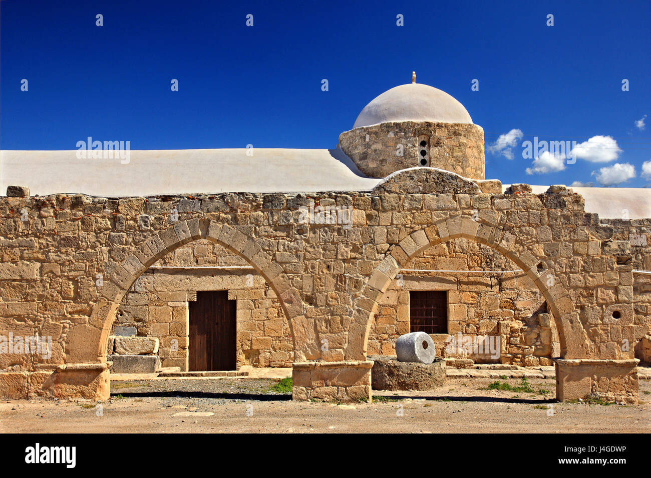 The byzantine church of Panagia Katholiki next to the archaeological site of Palaipaphos, at Kouklia village, Paphos - Stock Image