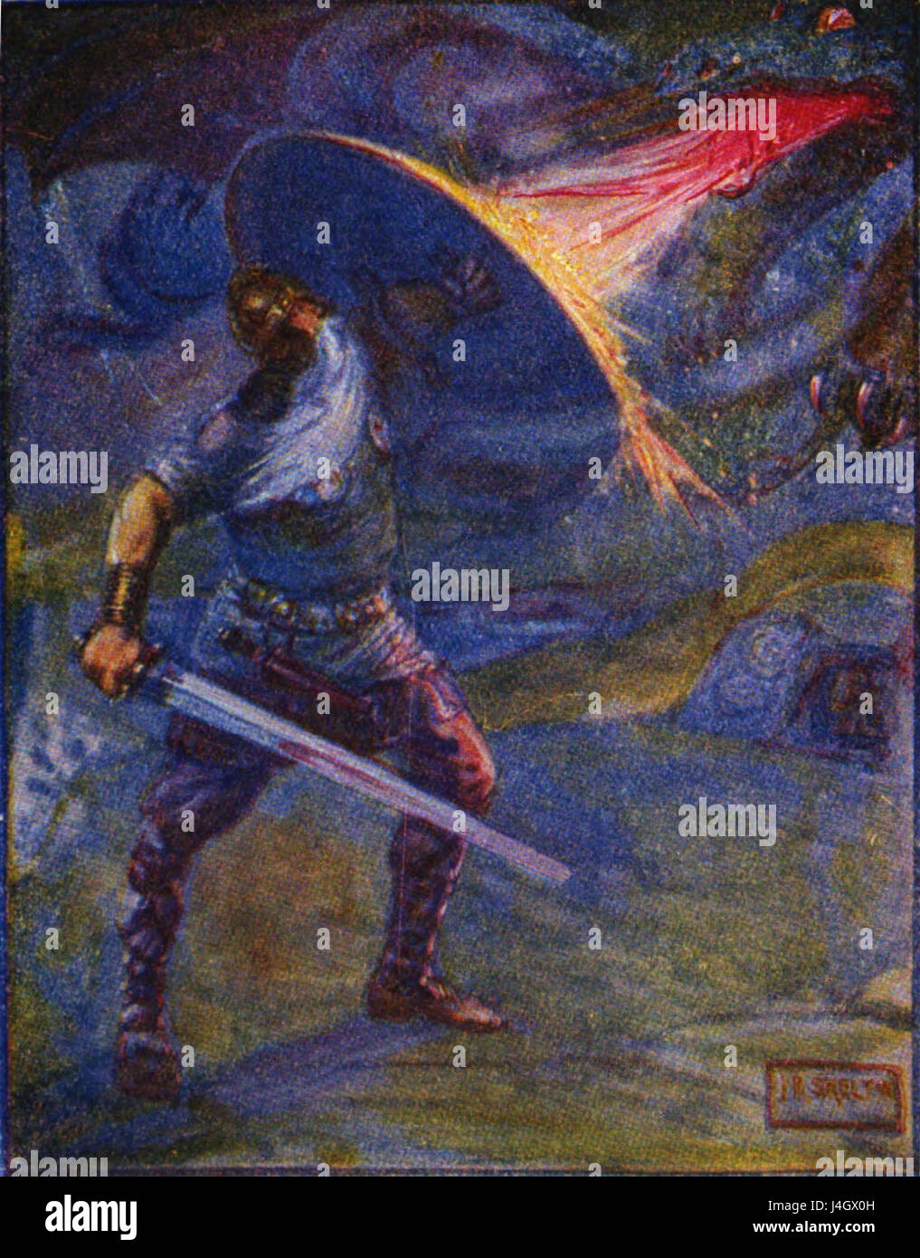 Stories of beowulf fighting the dragon - Stock Image