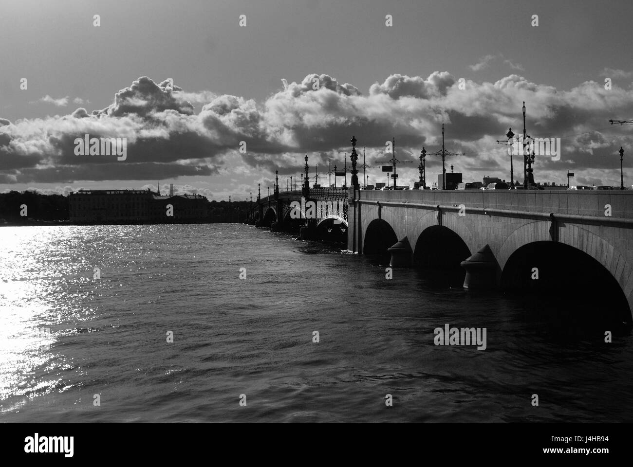 Trinity bridge on the river Neva, St Petersburg - Stock Image