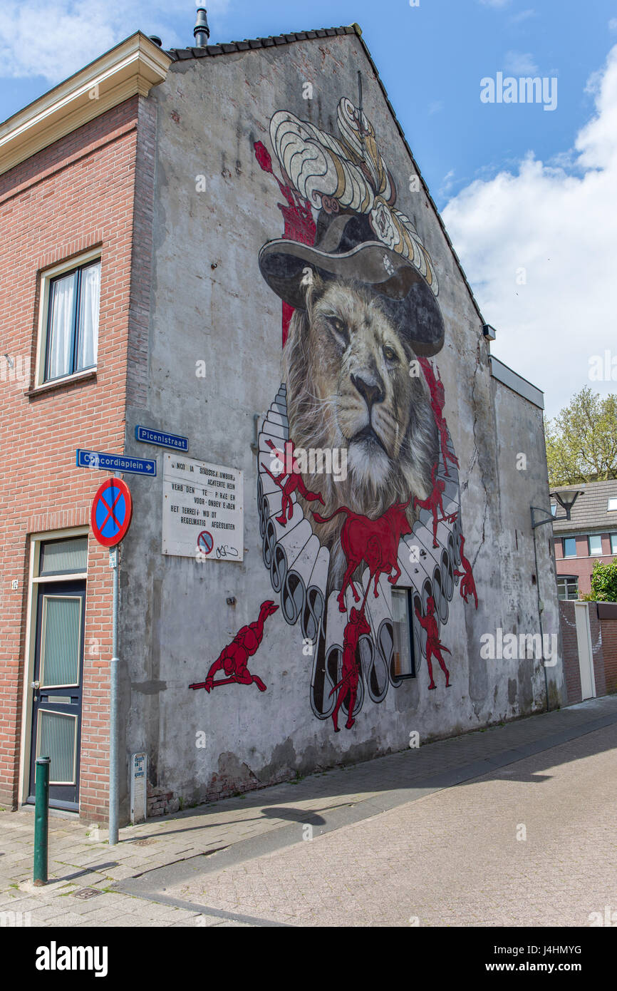 Mural by artist Zenk One (Robin Nas), part of the Blind Walls Gallery project in Breda, the Netherlands - Stock Image
