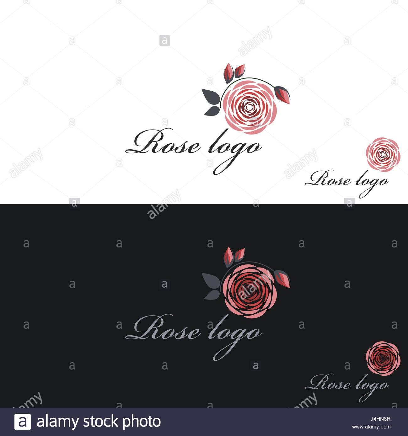 Rose Logo Vector Clipart White Black Background Stock Vector Art