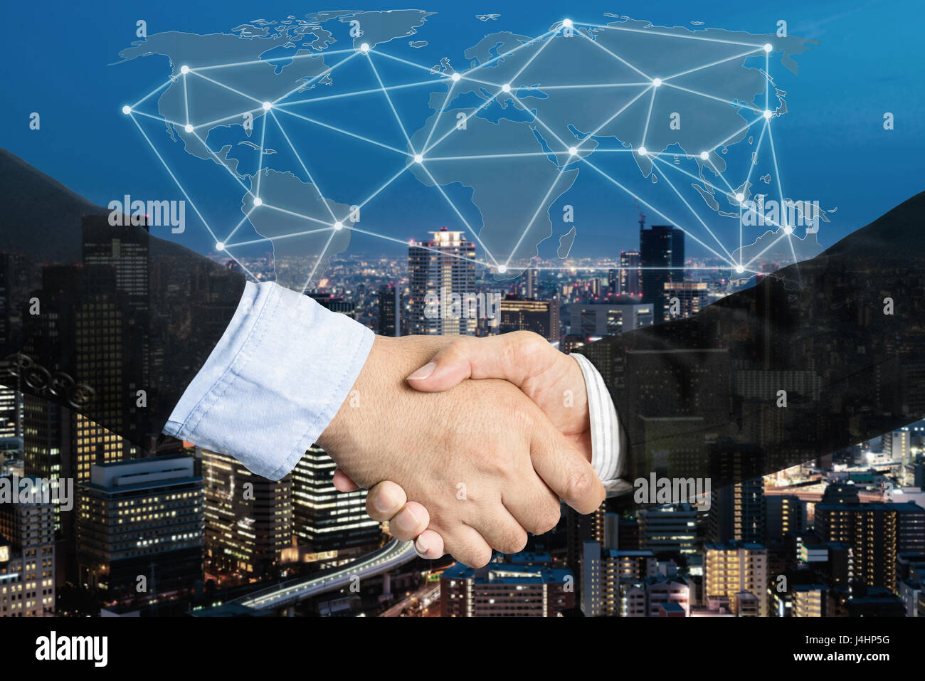 Deal or agreement business concept, handshake double exposure, cooperation or partnership business with global connection - Stock Image