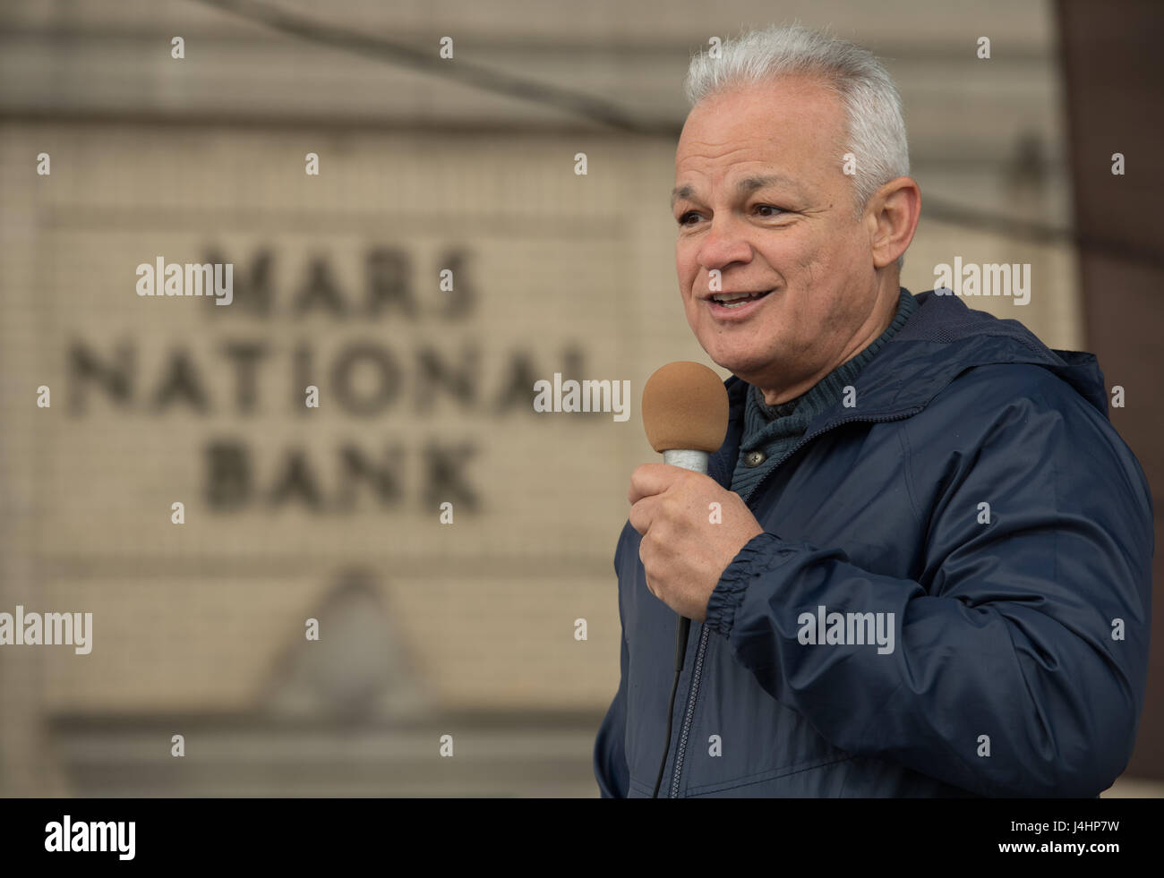 NASA Acting Chief Technologist Douglas Terrier speaks during the Mars New Year STEM celebration May 6, 2017 in Mars, - Stock Image