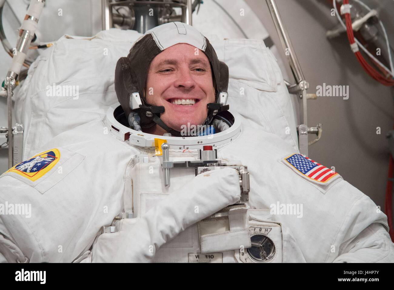 NASA International Space Station Expedition 52/53 prime crew member American astronaut Jack Fischer in a spacesuit Stock Photo