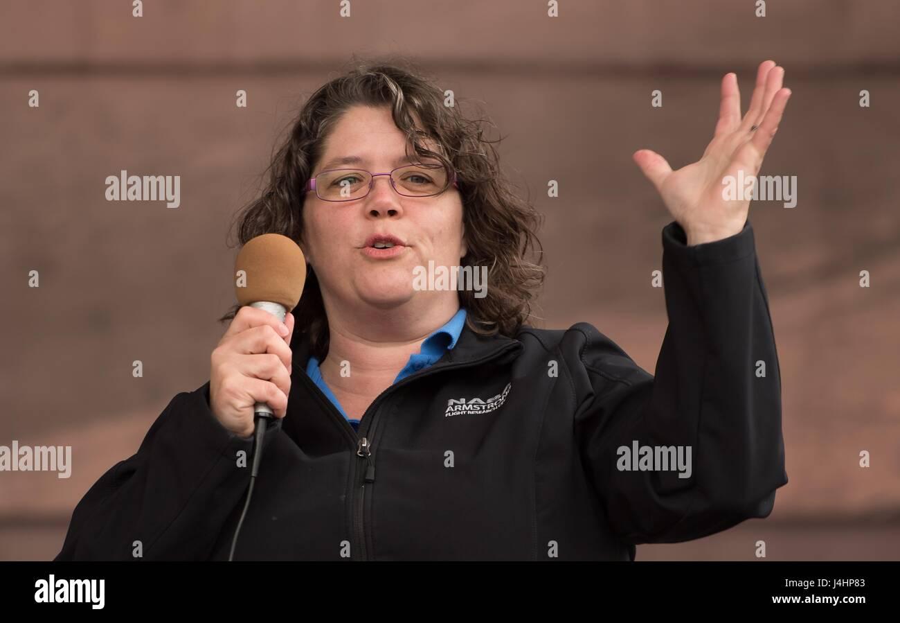 NASA Aeronautics Research Mission Directorate Einstein Fellow April Lanotte speaks during the Mars New Year STEM - Stock Image