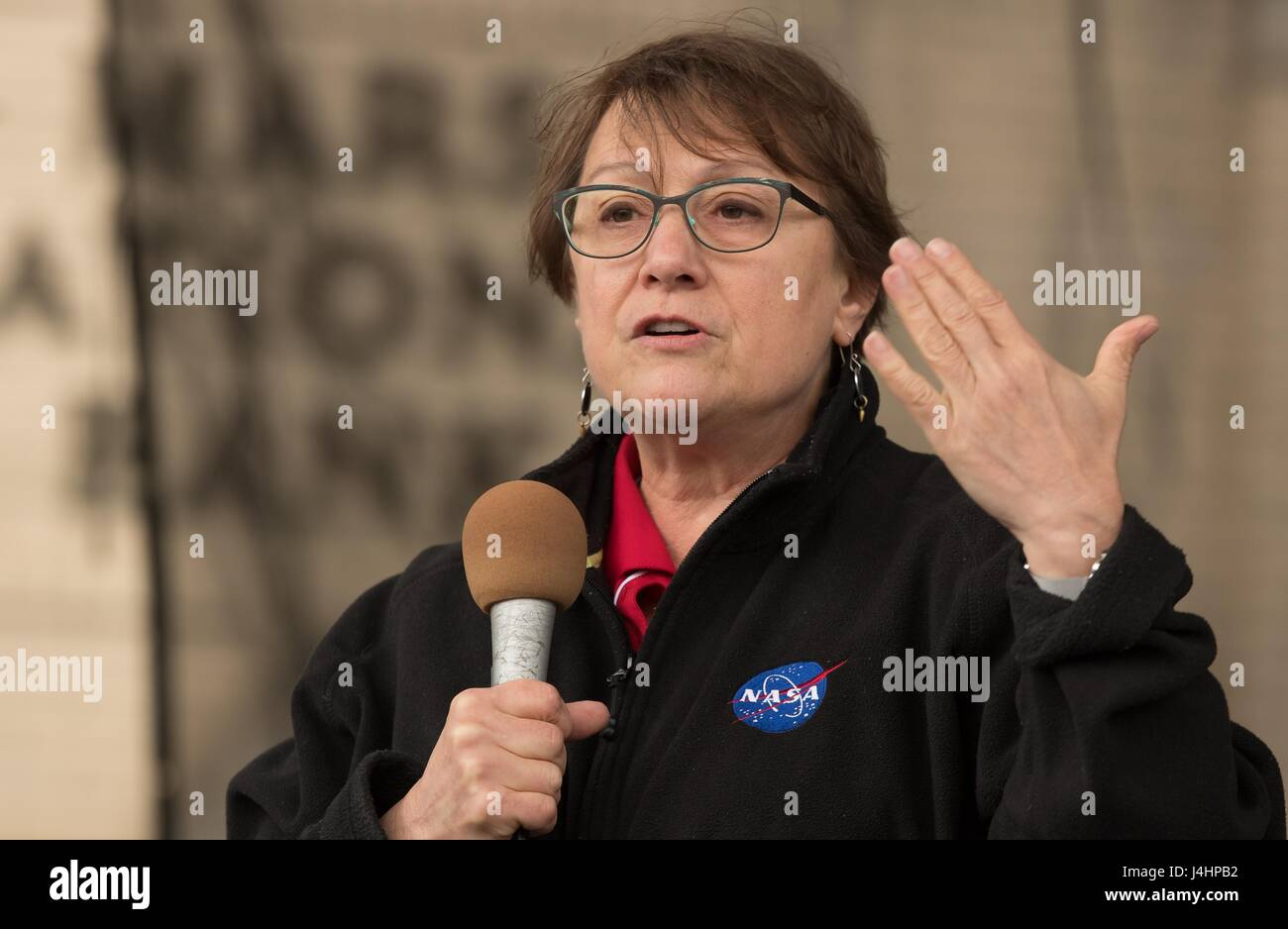 NASA Astrobiology Senior Scientist Mary Voytek speaks during the Mars New Year STEM celebration May 6, 2017 in Mars, - Stock Image
