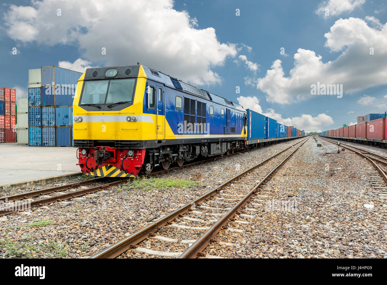 Cargo train platform with freight train container at depot in port use for export logistics background. - Stock Image