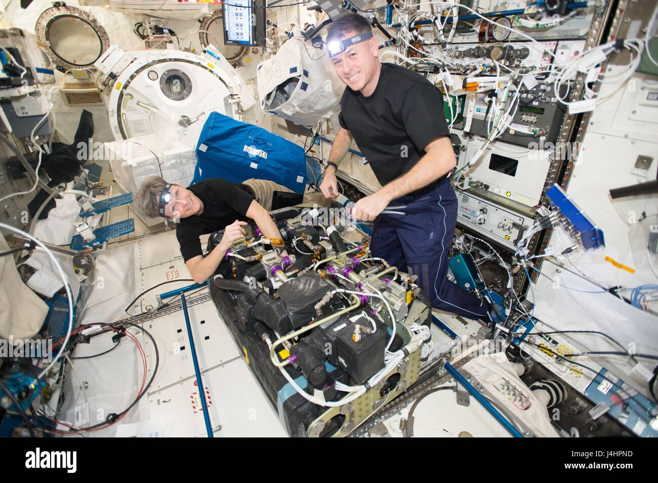 NASA International Space Station Expedition 50 prime crew members American astronauts Peggy Whitson and Shane Kimbrough - Stock Image