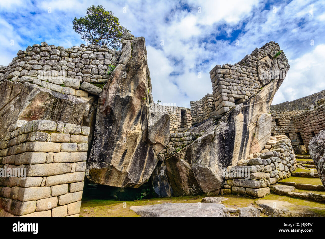 Condor temple Machu Picchu, Incas ruins in the peruvian Andes at Cuzco Peru - Stock Image