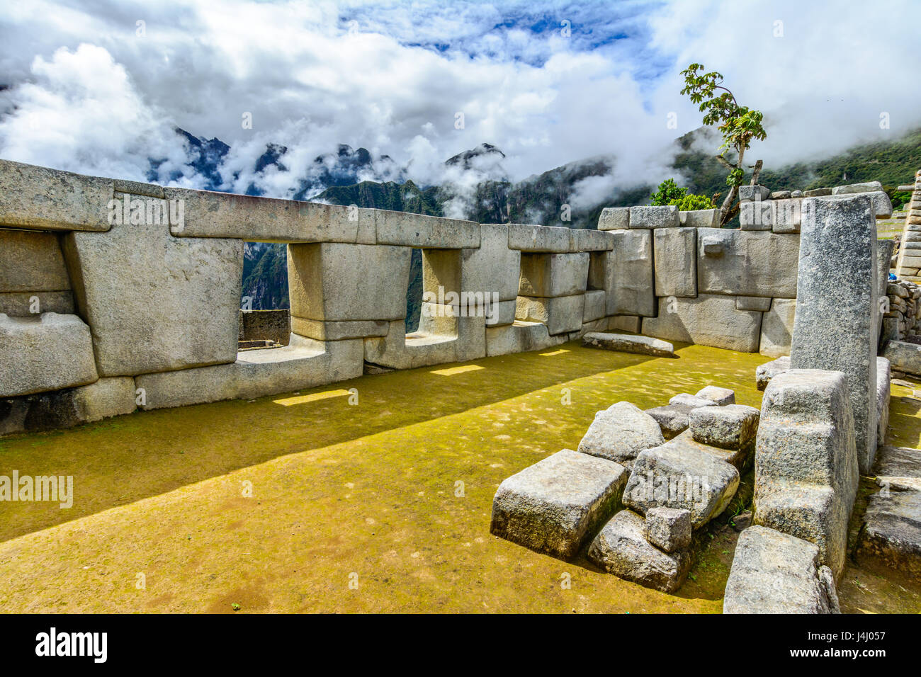 The Temple of the Three Windows in Machu Picchu - Stock Image