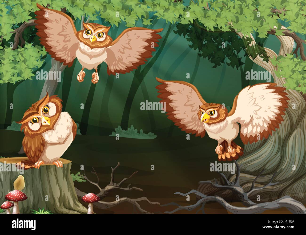 Three owls flying in forest illustration - Stock Vector