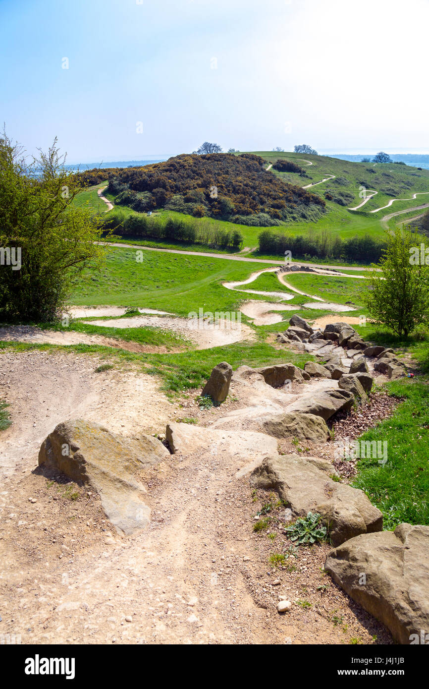 Olympic Mountain Bike Trail in Hadleigh Park, Essex, UK - Stock Image