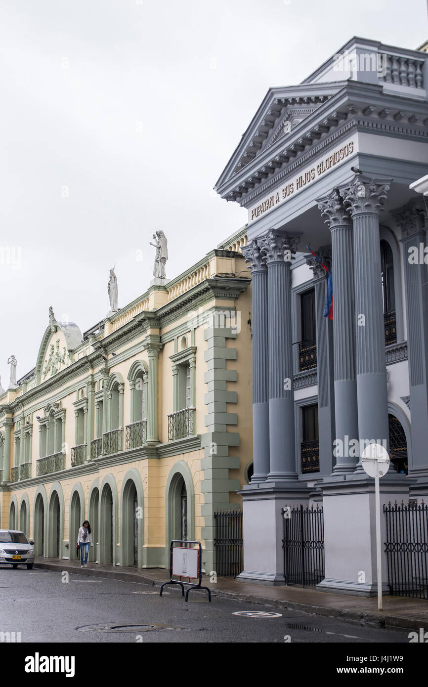 Historical Center of Popayan, Colombia. Pantheon of the Proceres, Theater Guillermo Valencia. - Stock Image