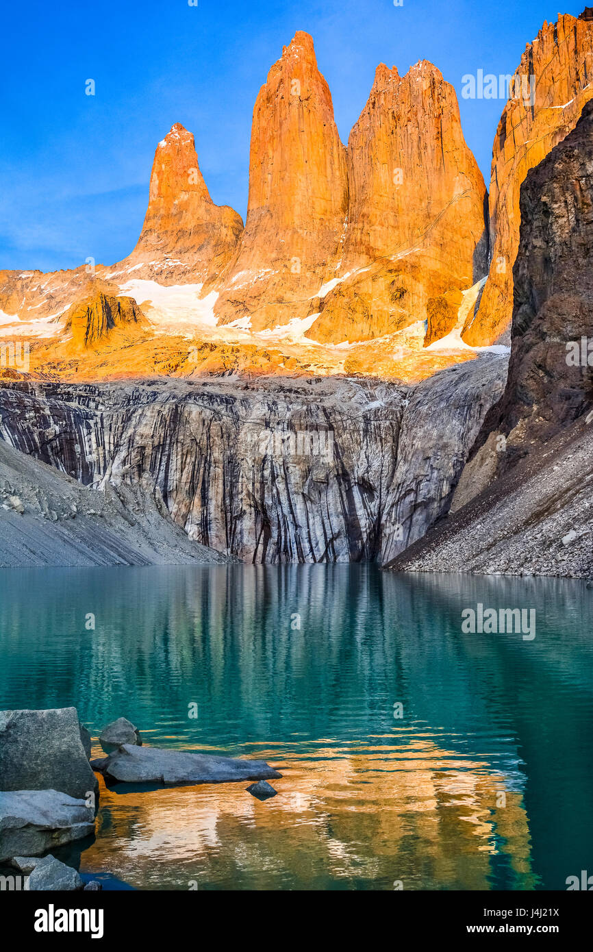 Laguna torres with the towers at sunrise, Torres del Paine National Park, Patagonia, Chile - Stock Image