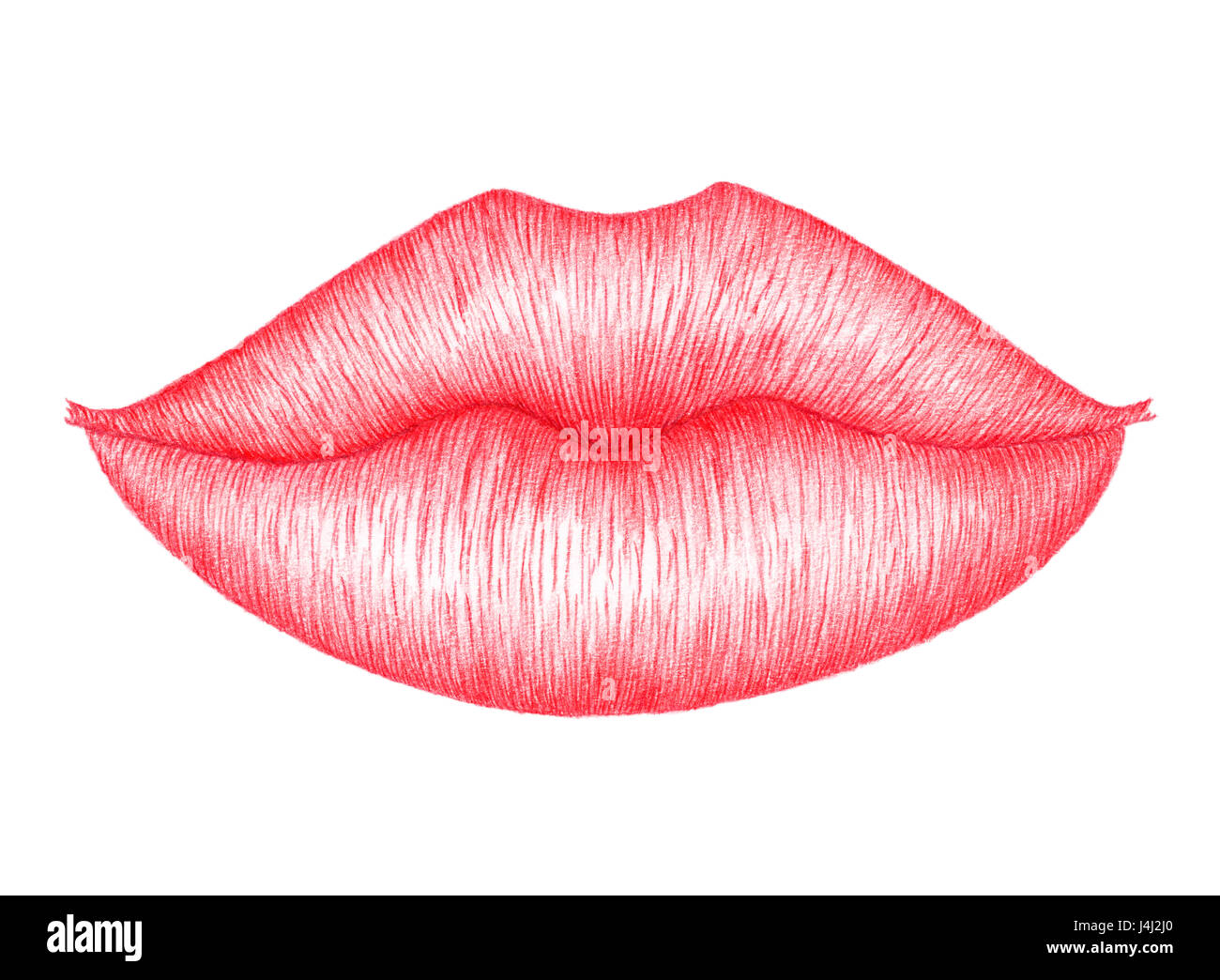 Red lips over white background. Colored pencils on paper. - Stock Image