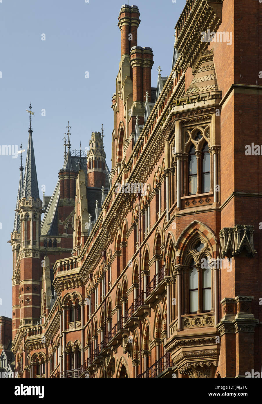 South front of Midland Grand Hotel at St Pancras Station, London. Designed by George Gilbert Scott, in the 1860s, - Stock Image