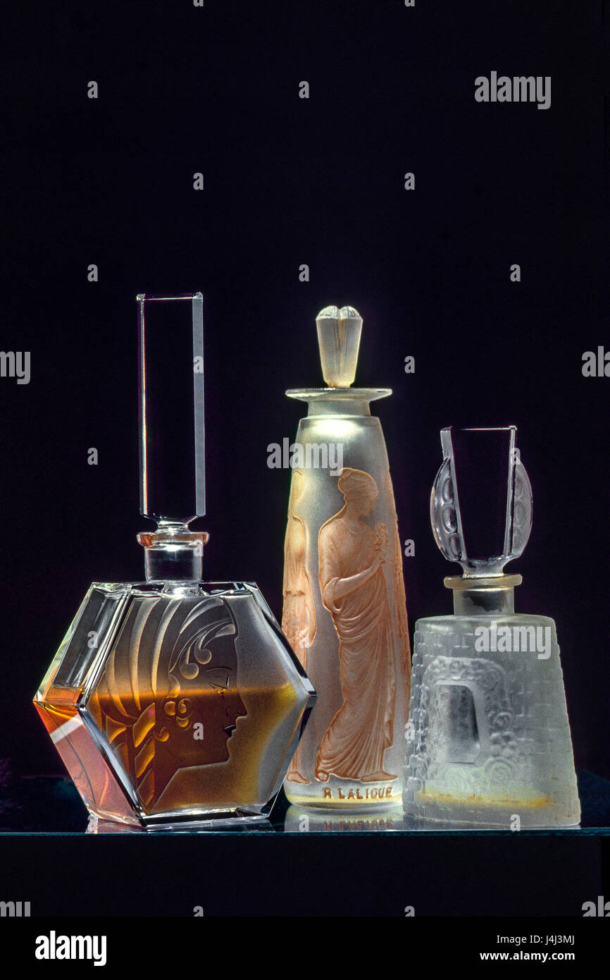 Antique lalique perfume bottles - Stock Image