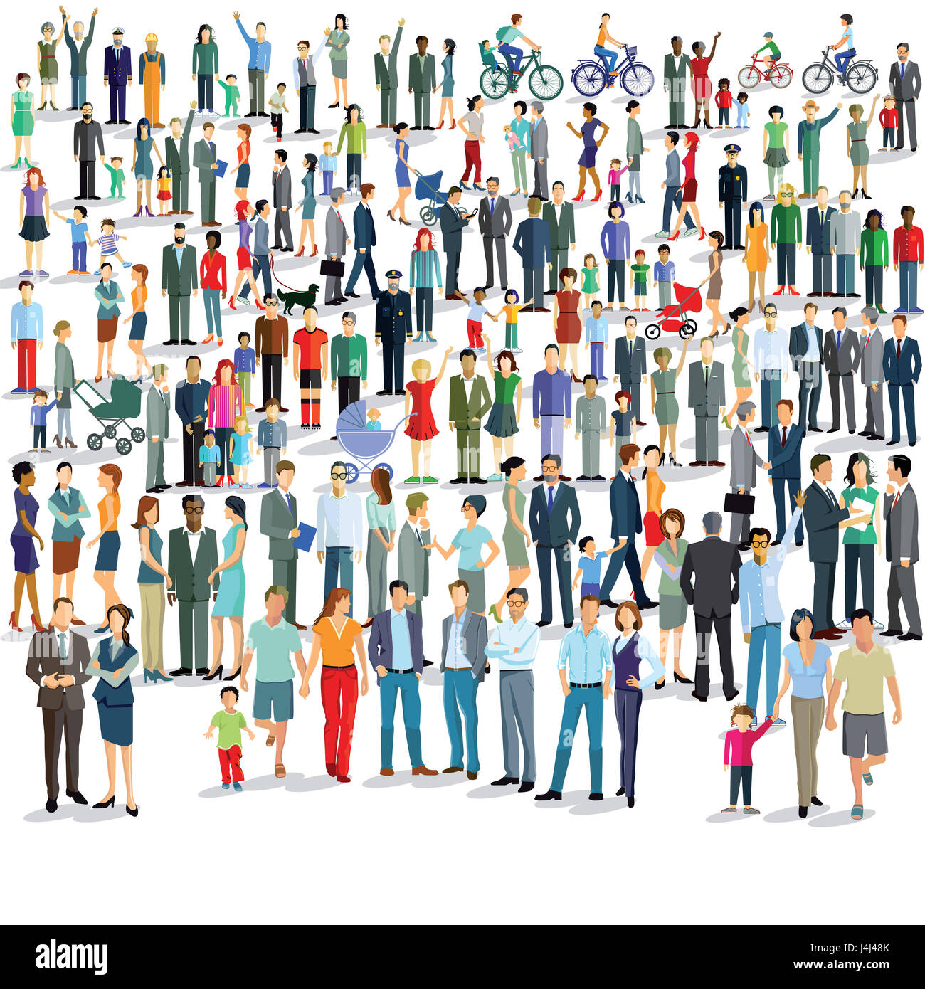 Large group of people standing together illustration - Stock Image