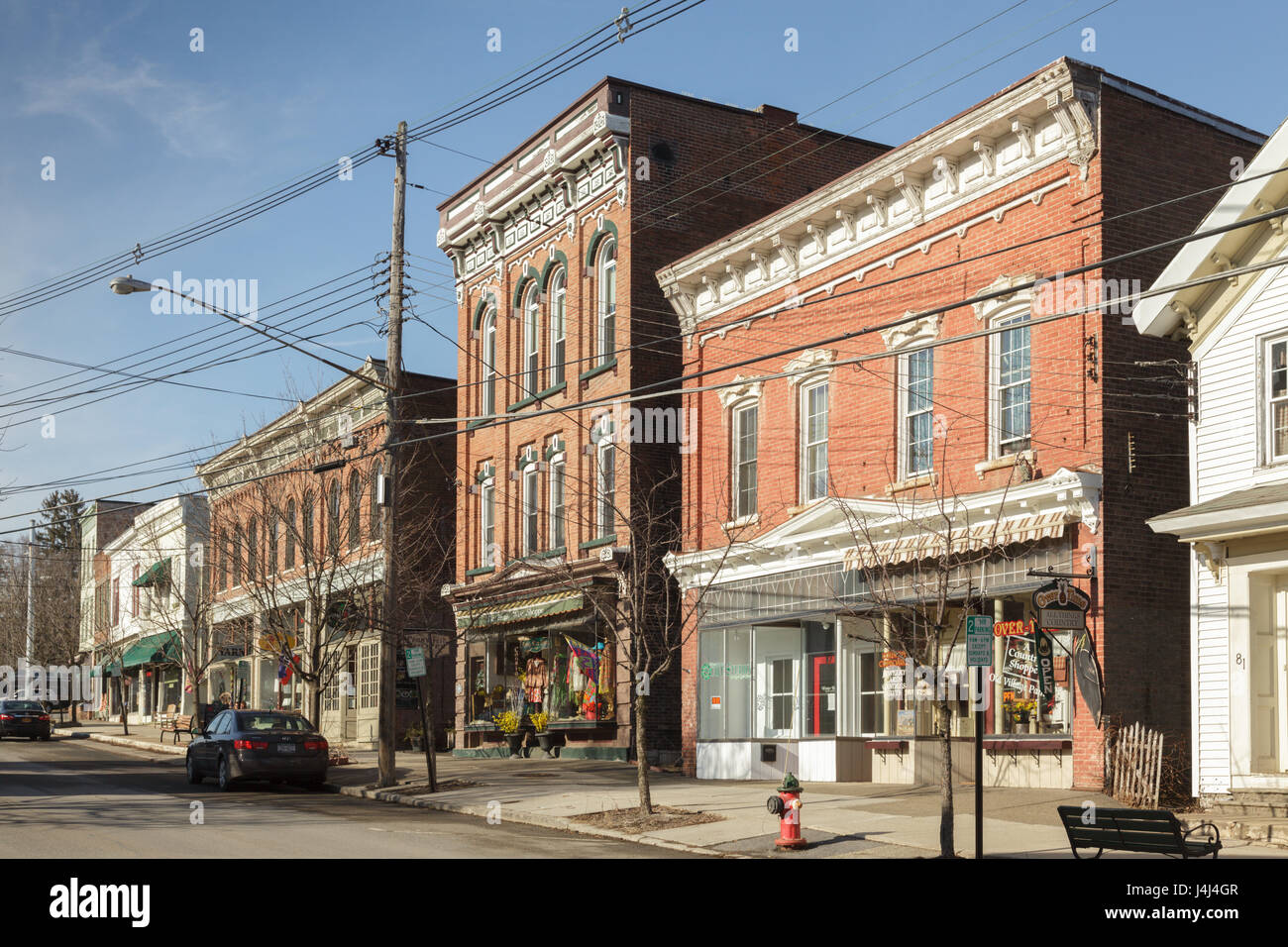 Main Street businesses, Greenwich, Washington County, New York State - Stock Image