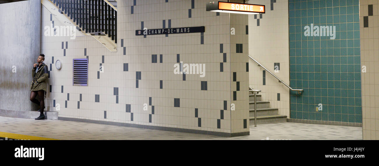 Champ-de-Mars metro station interior, Montreal, Quebec, Canada - Stock Image