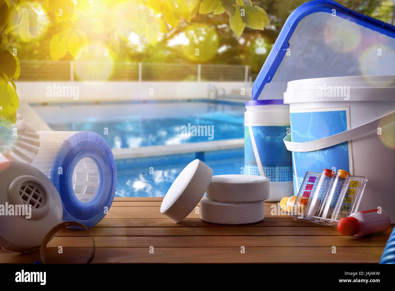 Swimming pool service and equipment with chemical cleaning products ...