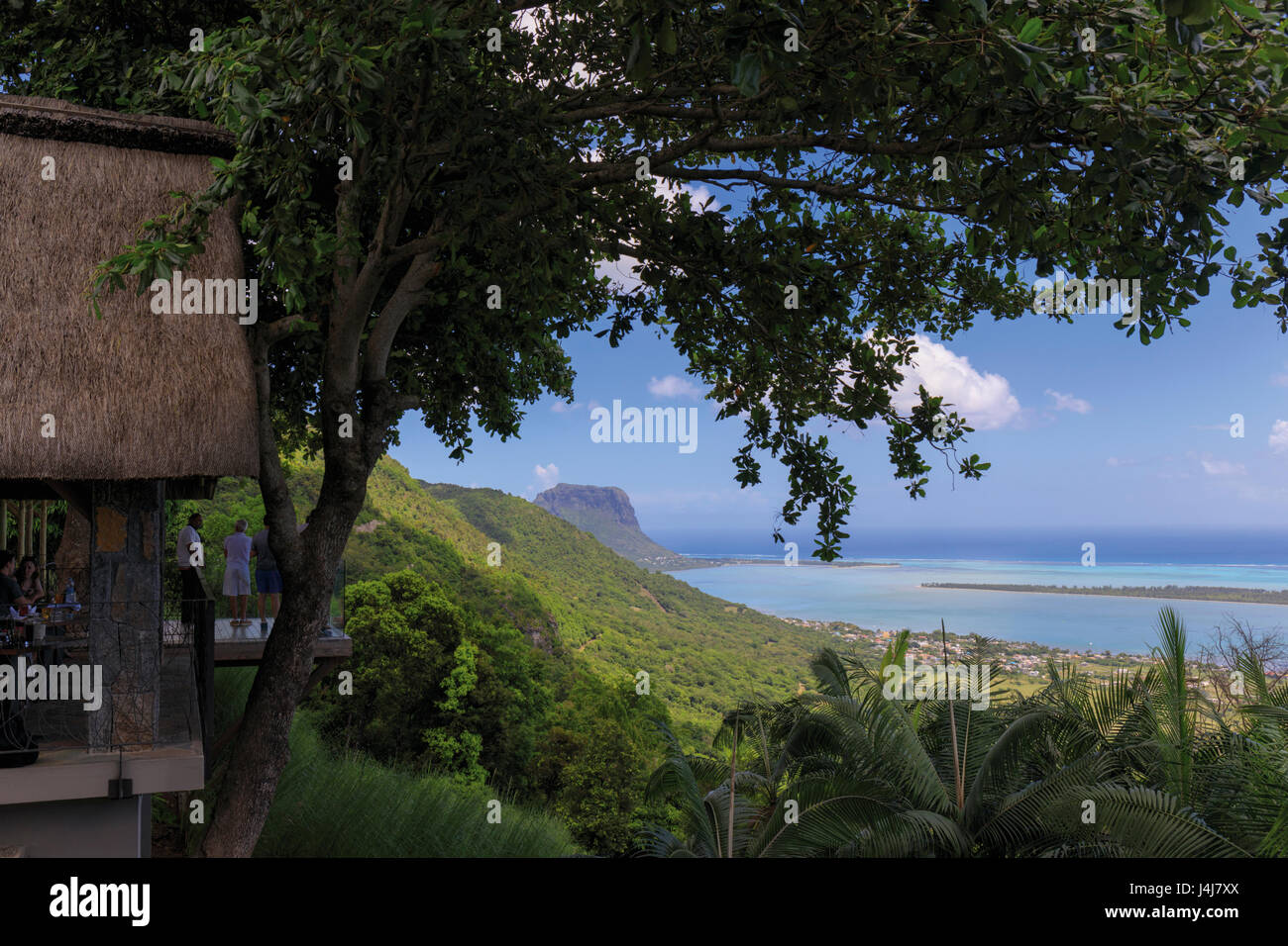 Mauritius. View to coast from terrace of Restaurant le Chamarel.  Le Morne Brabant seen on the left. - Stock Image