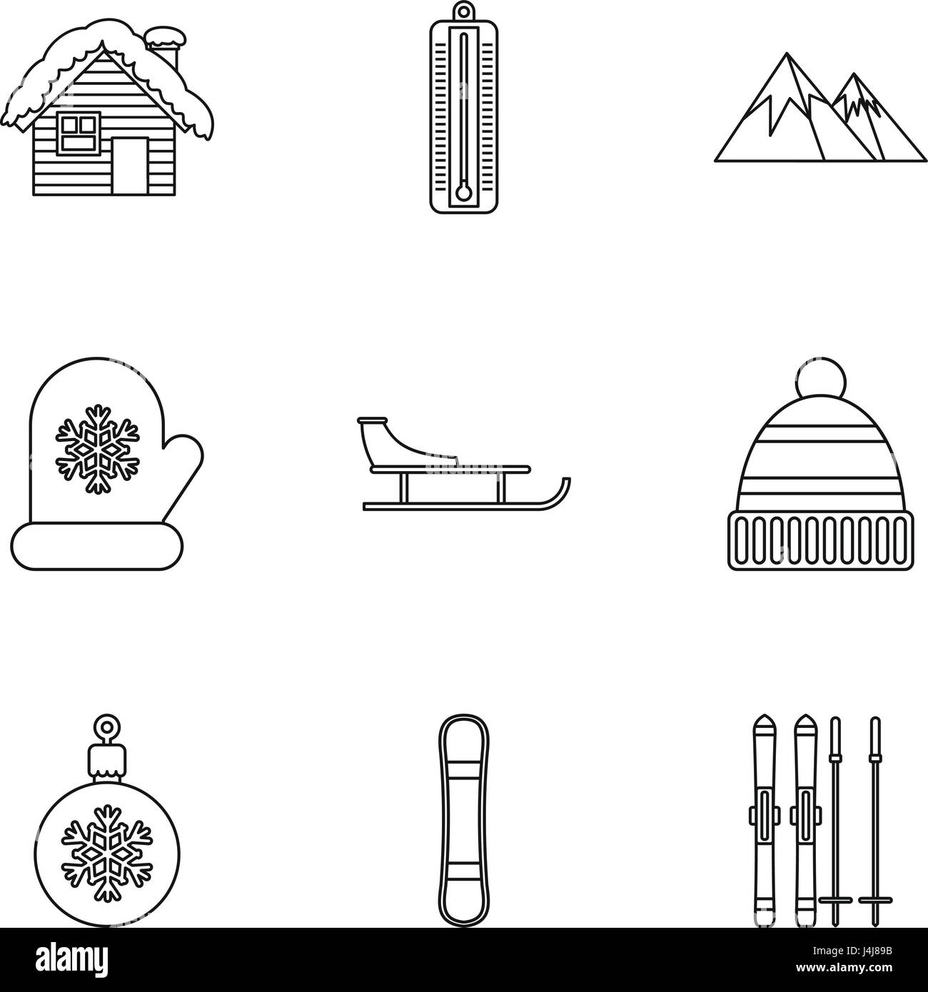 Winter holidays icons set, outline style Stock Vector