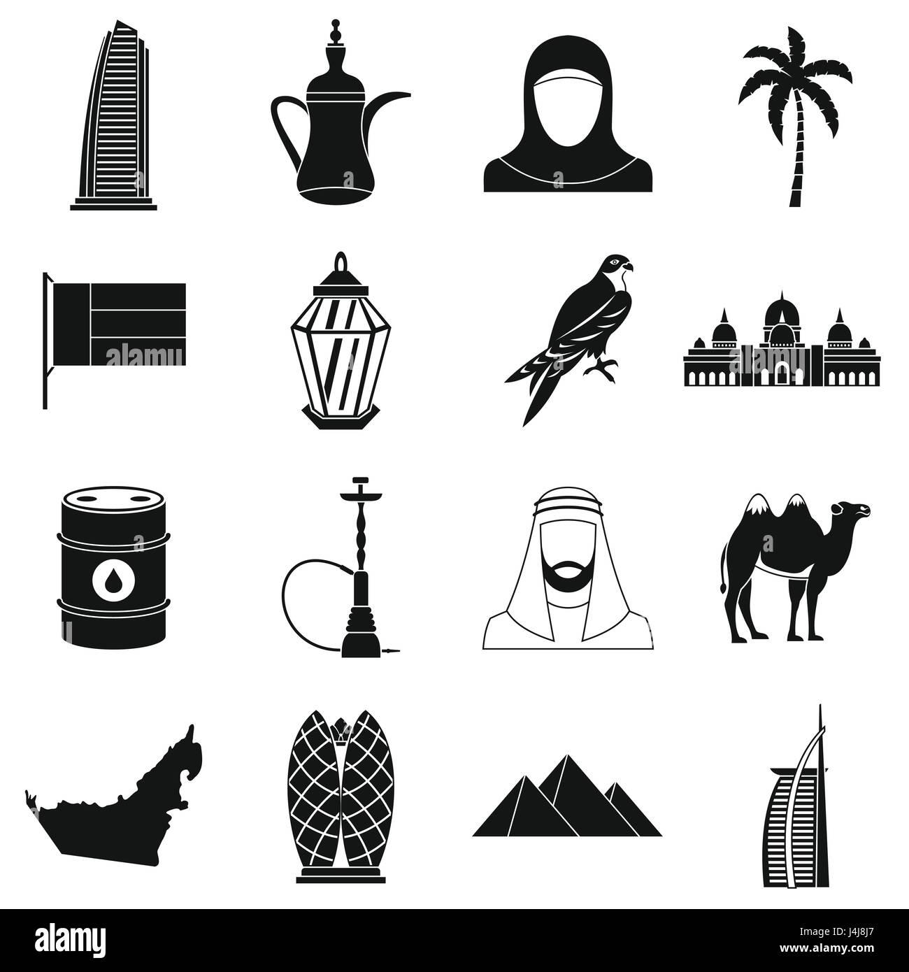UAE travel icons set, simple style - Stock Image