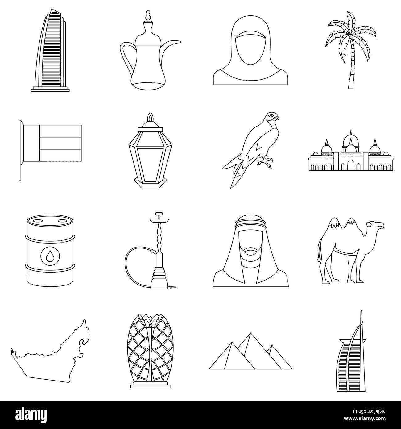 UAE travel icons set, outline style - Stock Image