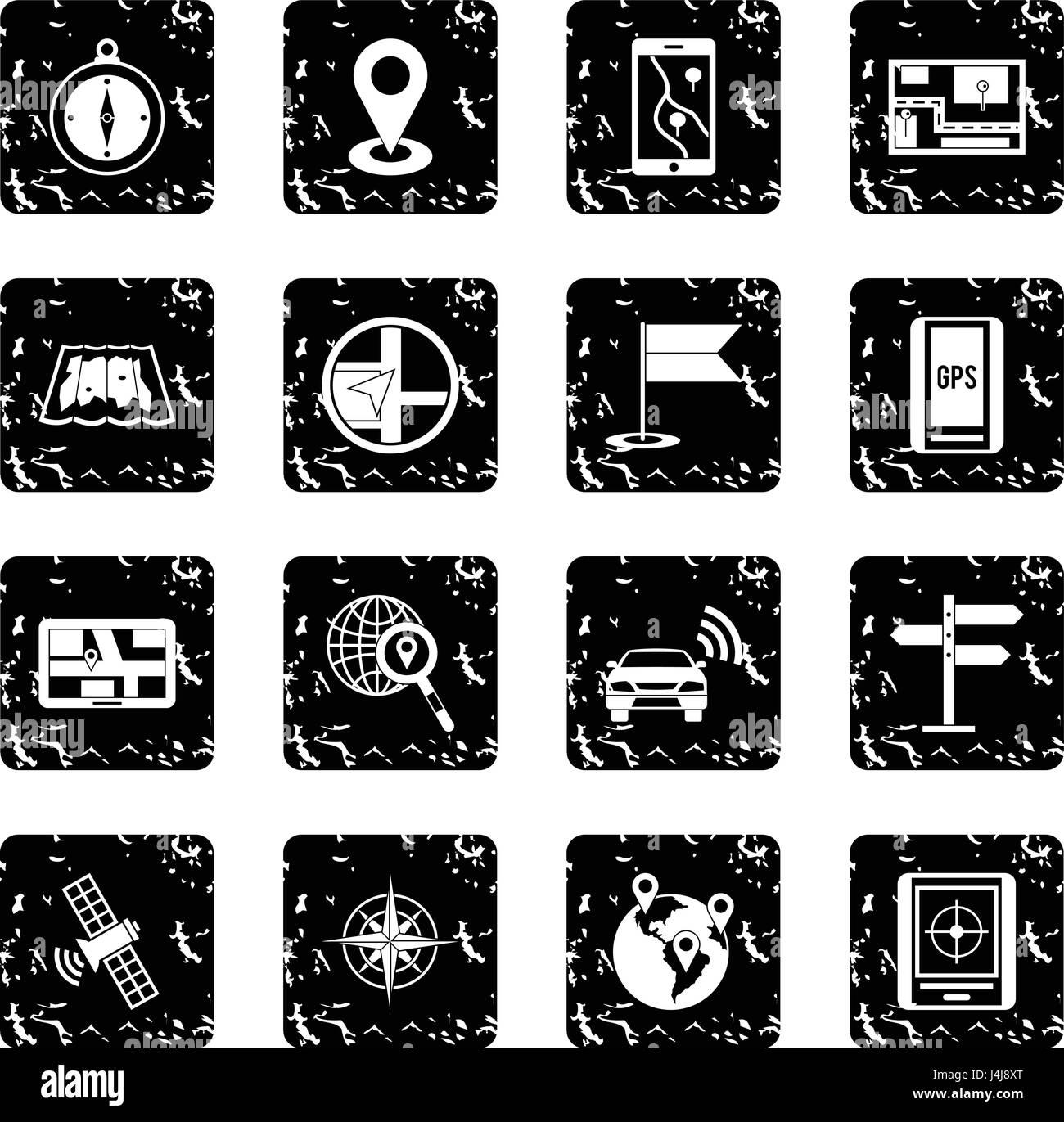Navigation set icons, grunge style - Stock Image