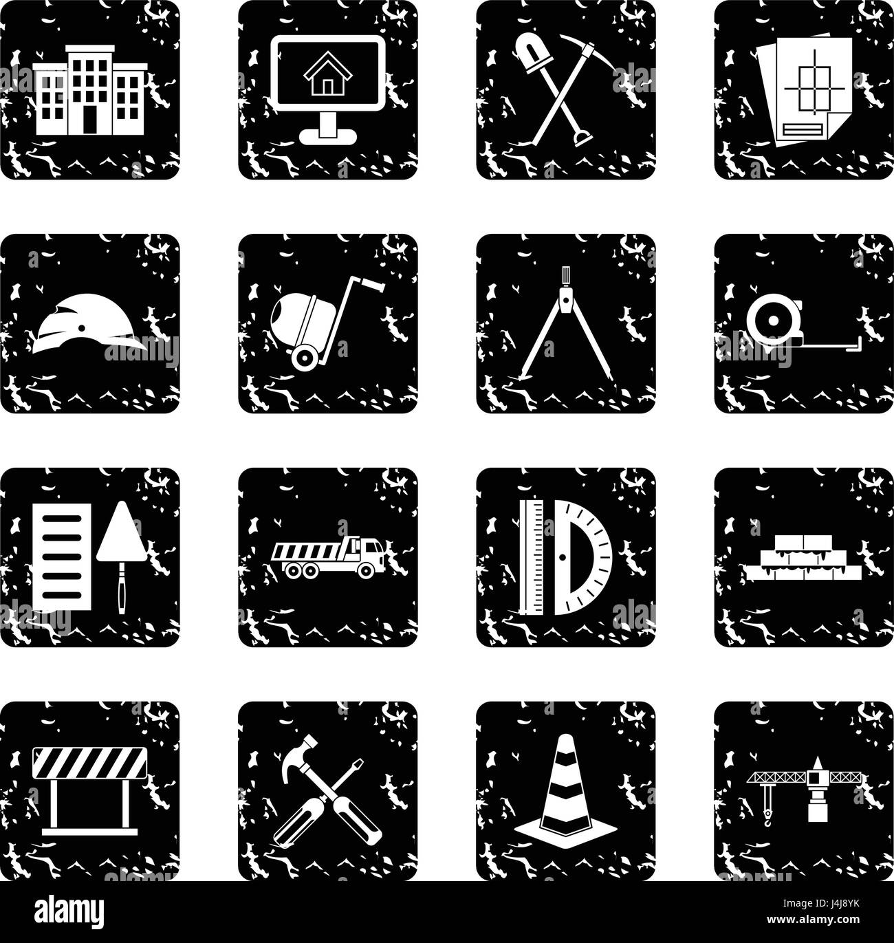 Construction set icons, grunge style Stock Vector