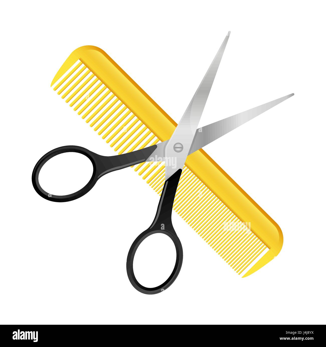 crossed scissors and comb isolated on white barbershop hairdresser