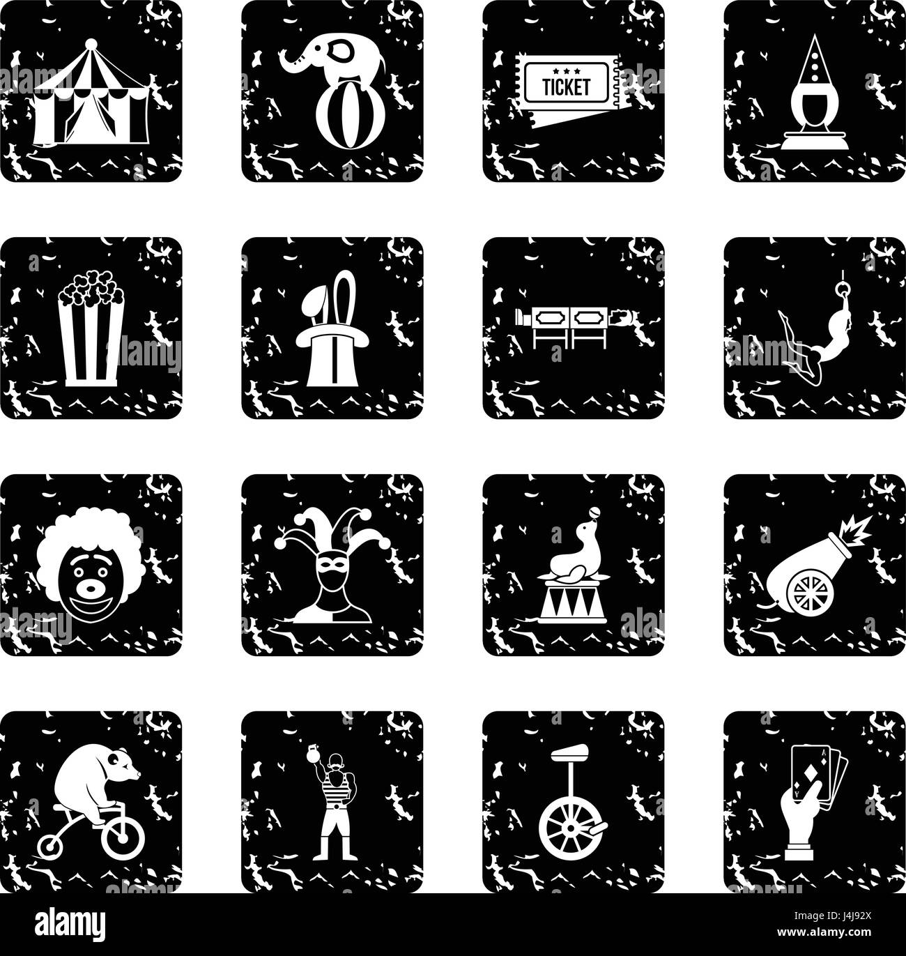 Circus entertainment icons set, simple style - Stock Image