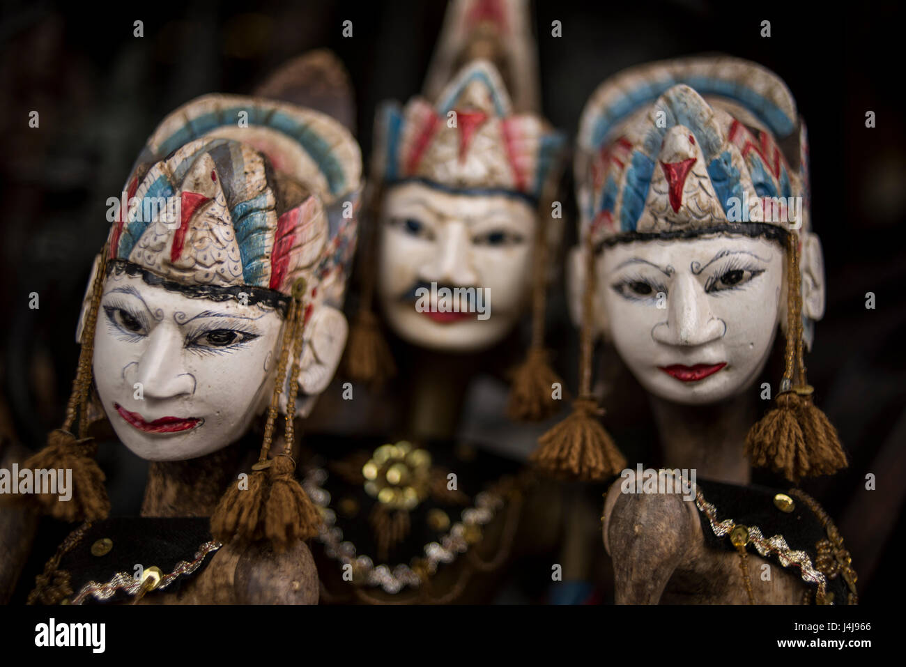 Traditional wooden puppets (wayang golek) from Java, Indonesia. - Stock Image