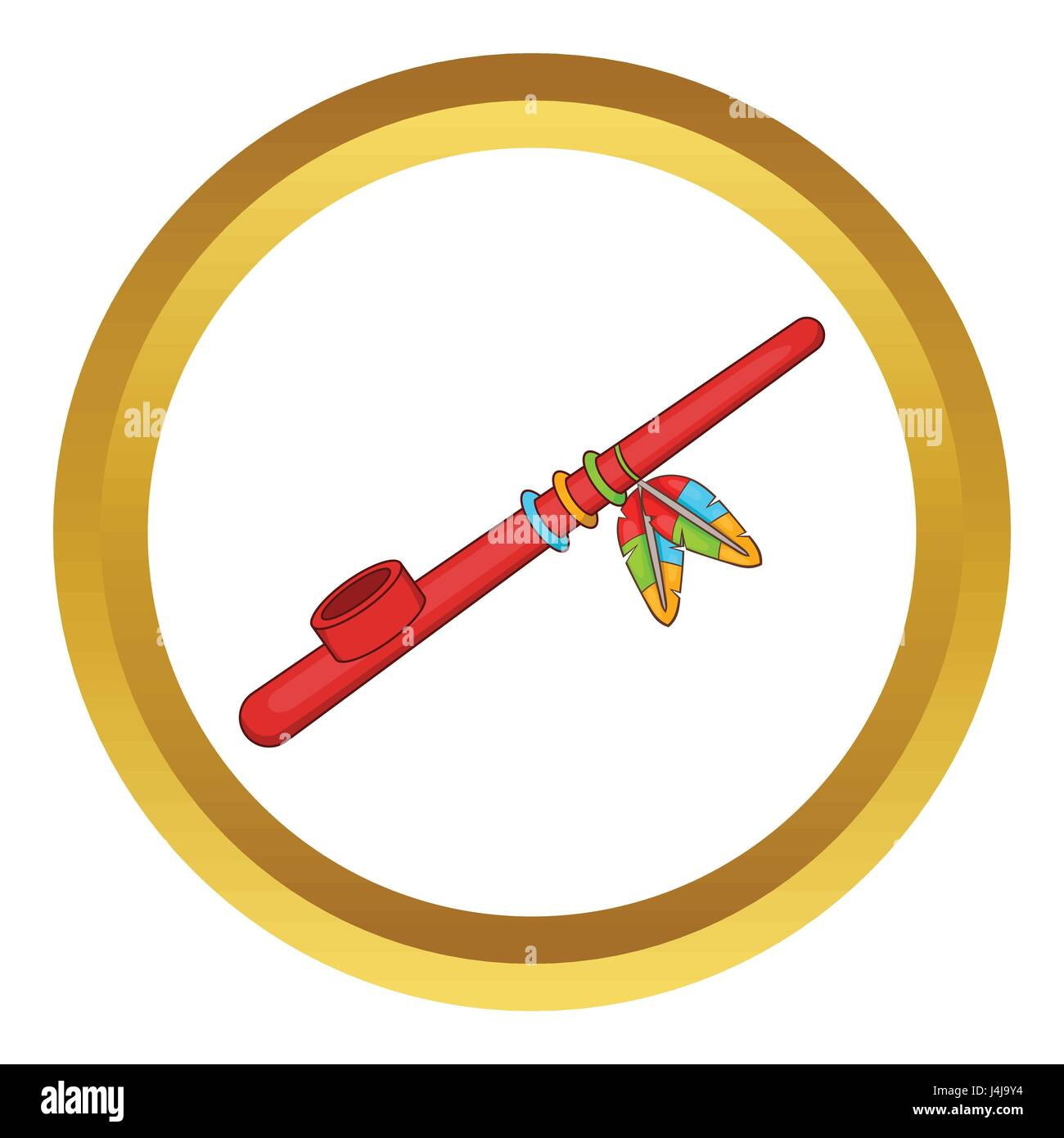 Indian Peace Pipe Vector Icon Stock Vector Art Illustration