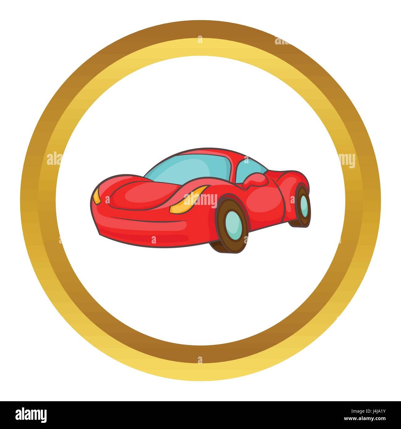 Small red italian car vector icon - Stock Image