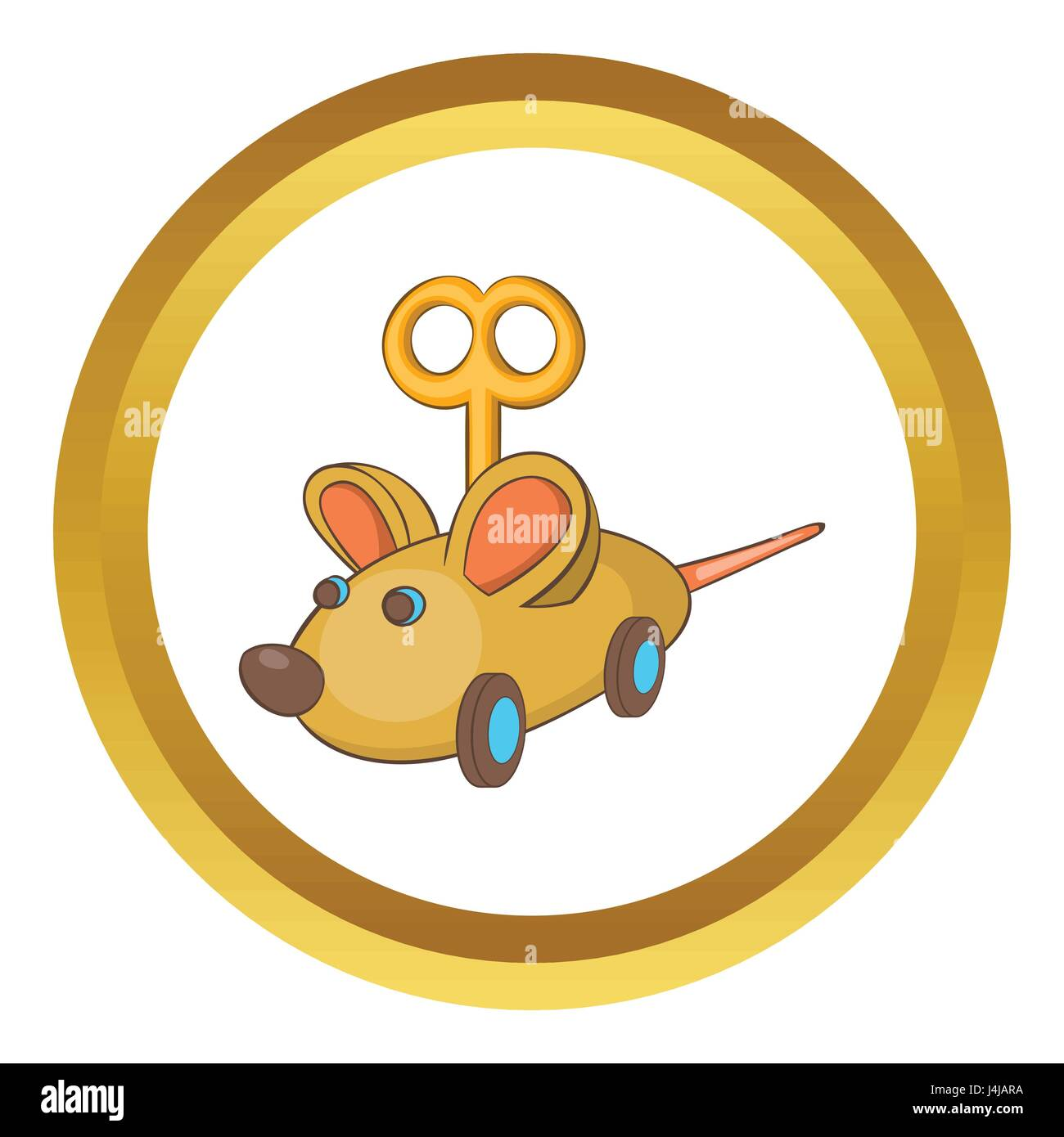 Clockwork mouse vector icon - Stock Image
