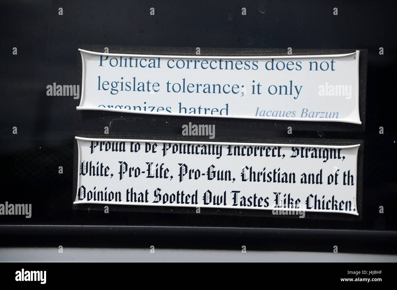 anti political correctness, pro right wing, alt right bumper stickers on pick up austin texas - Stock Image