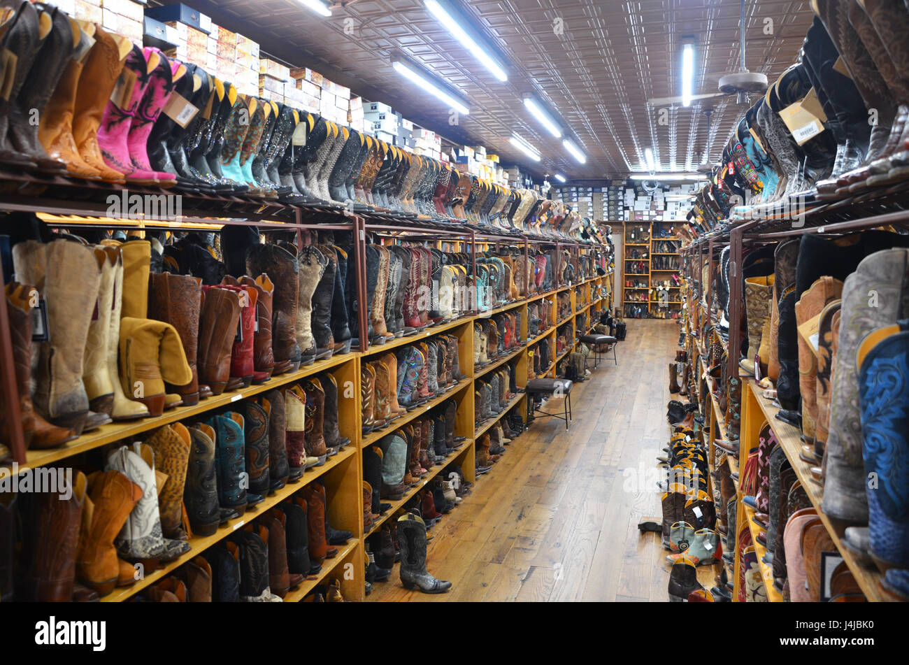 a25f56e32c8 cowboys boots for sale in allens boots store austin texas - Stock Image