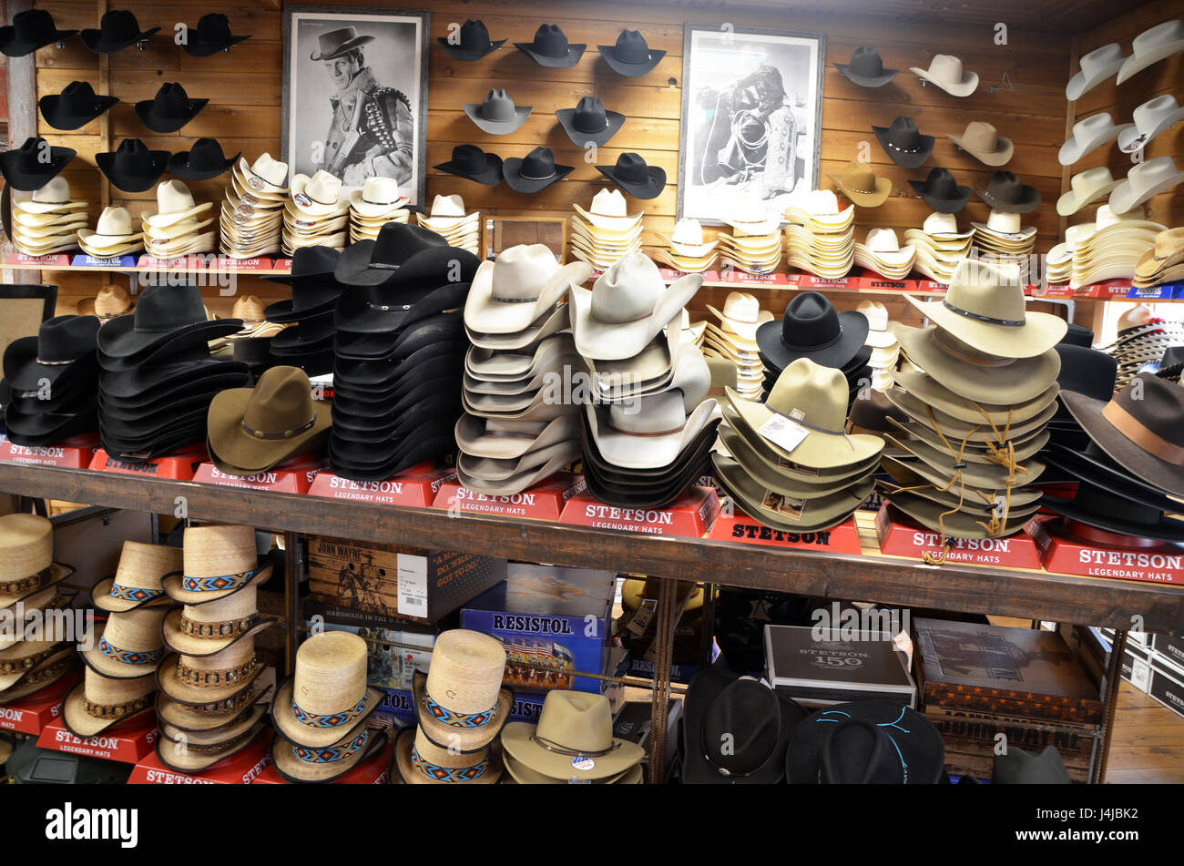 cowboy hats displayed in allens boots store austin texas Stock Photo ... 0b6d996532c