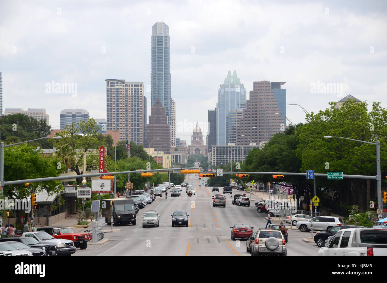 view of austin down south congress avenue - Stock Image
