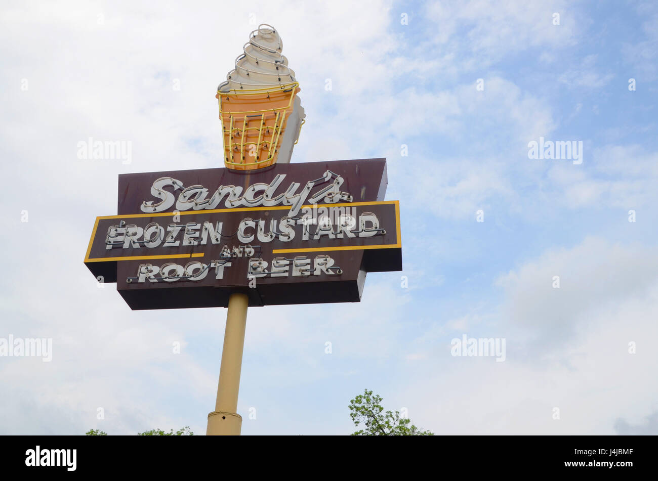 Sign for Sandy's Frozen Custard and Root Beer in Austin, Texas, a 1950s fast food joint Stock Photo