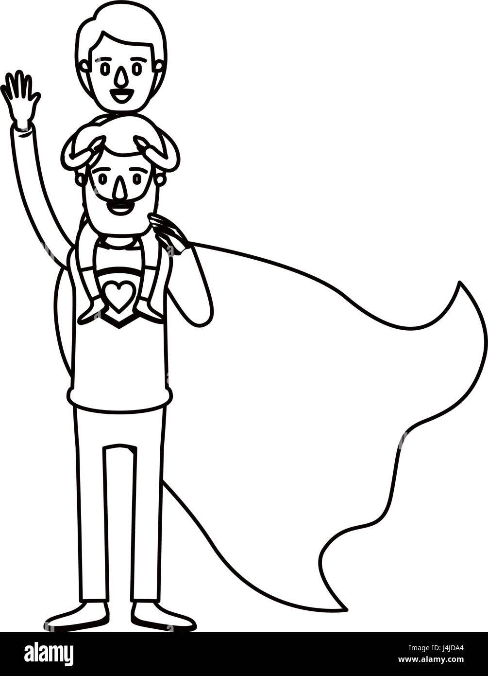 silhouette cartoon full body super dad hero with boy on his back - Stock Image