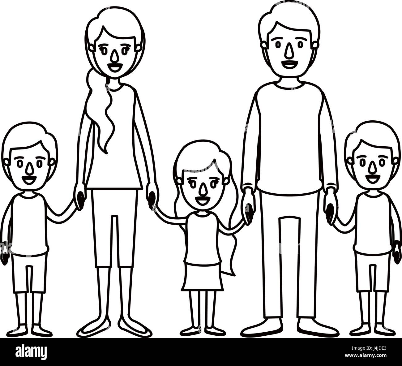 silhouette caricature family with young parents and little kids taken hands - Stock Vector