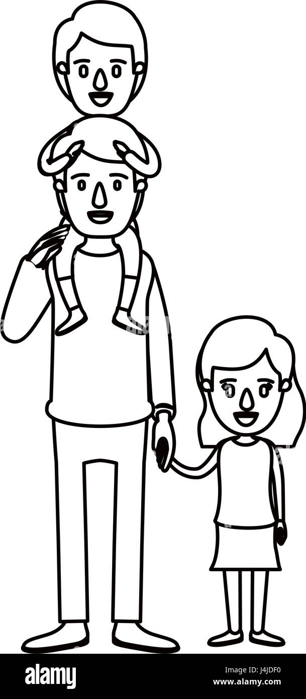 silhouette caricature dad with boy on his back and girl taken hands - Stock Image