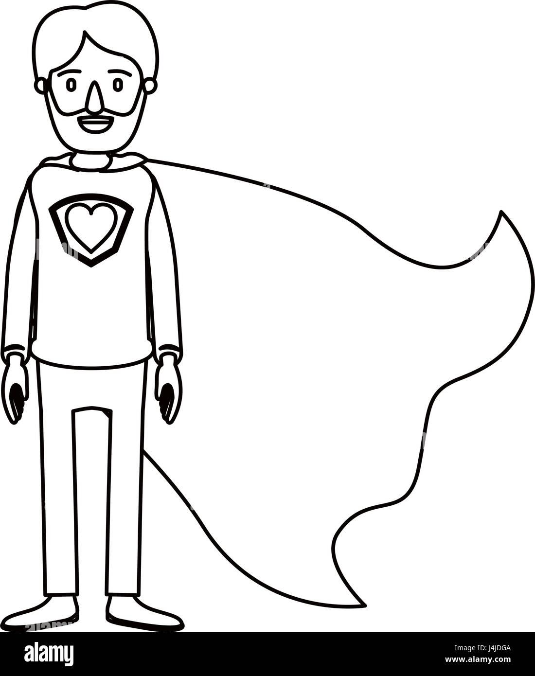 Silhouette Cartoon Full Body Super Dad Hero With Beard And Heart