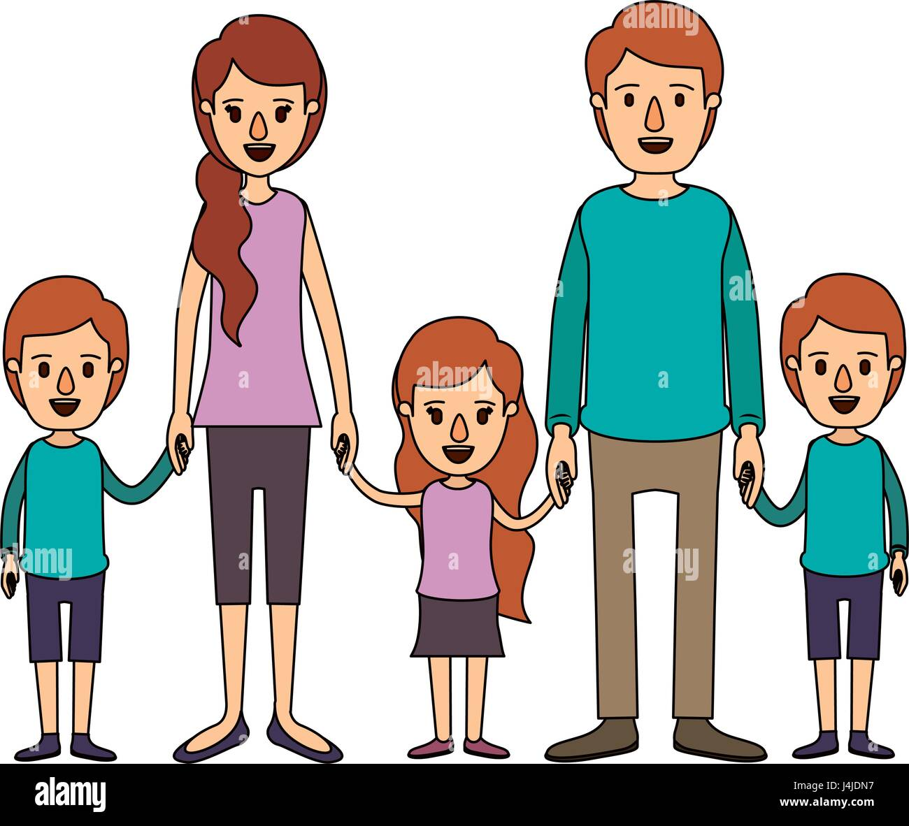 color image caricature family with young parents and little kids taken hands - Stock Vector